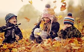 Картинка осень, листья, дети, позитив, улыбки, Настроения