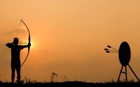 Картинка sunset, archery, arrows