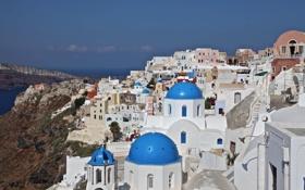 Обои скалы, дома, остров Тира, склон, Греция, Санторини, море