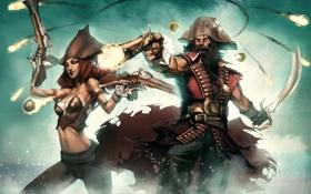 Обои шапка, череп, Пираты, пистоли, сабля, треуголка