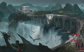 Обои мост, река, замок, водопад, драконы, арт, непогода