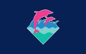 Обои волны, пара, дельфины, синий фон