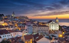 Обои ночь, море, огни, крыша, панорама, Португалия, дома