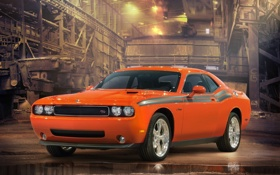 Обои car, orange, dodge, challenger