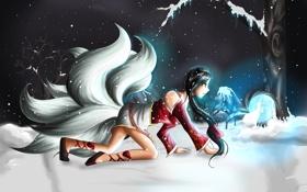 Обои девушка, снег, деревья, league of legends, ahri, ахри
