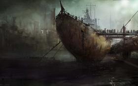 Обои туман, люди, корабль, арт, порт, посадка, мрачно