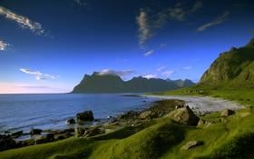 Картинка трава, вода, море, песок, побережье, берег, горы
