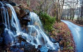 Картинка дорога, осень, лес, вода, камни, водопад