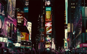 Картинка огни, вечер, Город, City, экраны, оживленность
