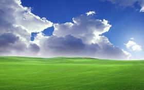 Картинка небо, облака, холмы, луг