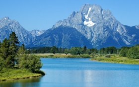 Обои пейзаж, фото, озеро, кусты, Oxbow, деревья, природа