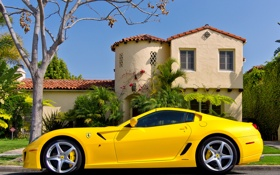 Обои House, Ferrari, Sky, 599, Tree, Yellow, Road