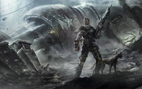 Картинка дым, робот, воин, пес, автомат, развалины, Мужчина