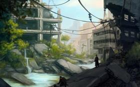 Картинка вода, город, люди, провода, собака, арт, солдаты