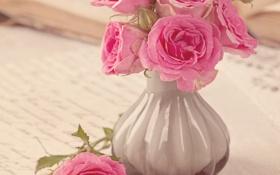 Обои розы, vintage, flower, style, pink, винтаж, bouquet