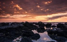 Картинка море, облака, закат, тучи, камни, лужи, валуны