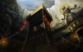 Обои скалы, арт, фонари, храм, скульптуры, божества, многорукий
