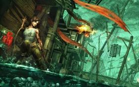 Обои вода, девушка, огонь, игра, корабль, лук, арт