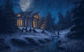 Обои звезды, деревья, речка, живопись, арт. ночь