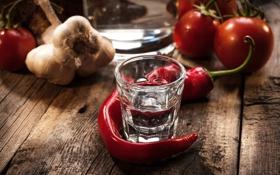 Обои красный, алкоголь, перец, стопка, водка, овощи, помидоры