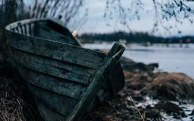 Обои лодка, река, природа