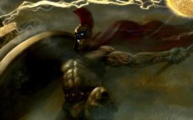 Картинка магия, воин, татуировка, пояс, шлем, копье, щит