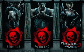 Картинка metal, wall, logo, fabric, Gears of war 3, game characters