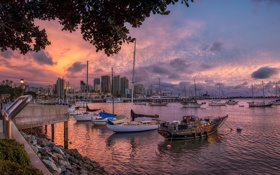 Картинка гавань, Сан Диего, набережная, лодки, город, закат, дома