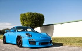Обои небо, дерево, голубой, тюнинг, забор, 911, Porsche