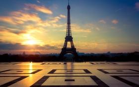 Обои эйфелева башня, город, плитки, площадь, облака