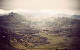 Картинка горы, долина, Исландия, зеленые склоны, ayline olukman Photography