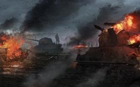 Обои поле, война, арт, танки