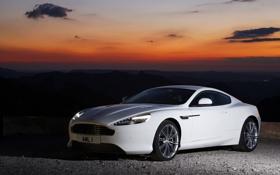 Обои небо, облака, пейзаж, закат, Aston Martin, купе, 1AML
