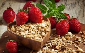 Обои ягоды, клубника, red, красная, fresh, спелая, хлопья