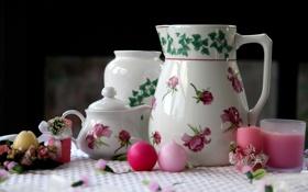 Картинка чайник, посуда, кувшин, свечки