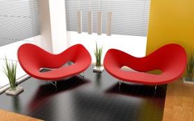 Обои стиль, кресла, обстановка
