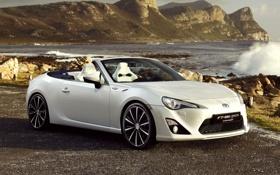 Обои Тойота, Open, Concept, передок, кабриолет, берег, Toyota