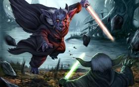 Обои star wars, Yoda, lightsaber, Sith