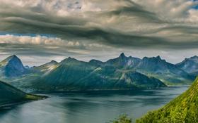 Обои небо, облака, пейзаж, горы, озеро, Norway