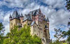 Обои небо, деревья, город, фото, замок, Германия, Eltz