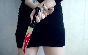 Обои девушка, ситуация, нож