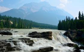 Картинка лес, небо, горы, река, скалы, водопад