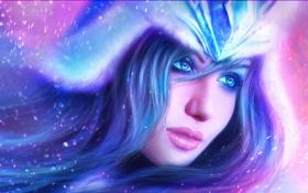 Картинка взгляд, девушка, лицо, волосы, арт, League of Legends, Sivir