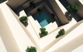 Обои вода, бассейн, арт, ступени, белые, кусты, вид сверху