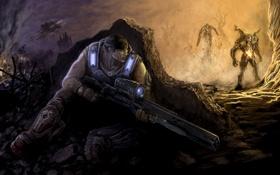Обои взрыв, оружие, укрытие, монстры, мужчина, Gears of War, Marcus Fenix