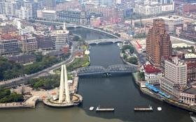 Обои город, фото, сверху, Китай, Шанхай, мосты, мегаполис