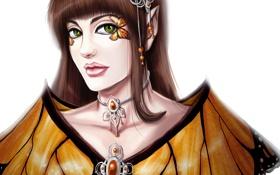 Обои глаза, взгляд, бабочка, женщина, макияж, платье, губы