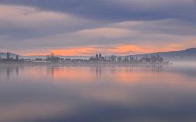 Обои озеро, рассвет, утро, Германия, городок, Germany, водная гладь