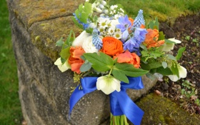 Обои цветы, фото, розы, ромашки, букет, тюльпаны, колокольчики