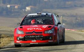 Картинка Красный, Ситроен, Citroen, Фары, WRC, Sebastien Loeb, Передок